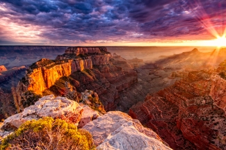 Purple and orange sunset over the Grand Canyon South Rim