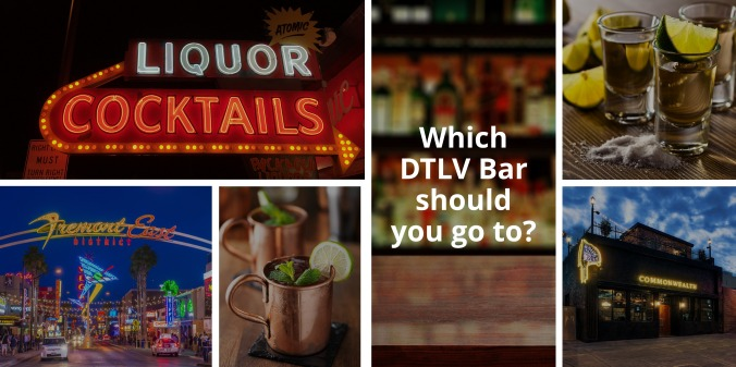 A collage of DTLV bars featuring moscow mules and tequila shots.