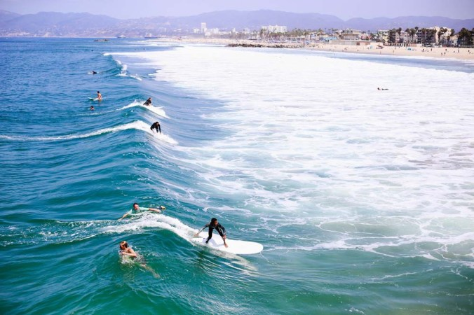 Surfing at Venice Beach