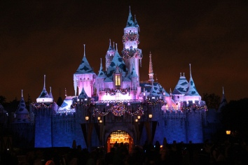 Sleeping Beauty Castle at Christmastime