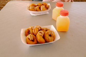 Famous apple cider donuts at Gilcrease Orchard