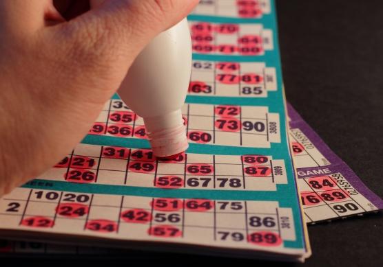 Close-up of a bingo card and dauber